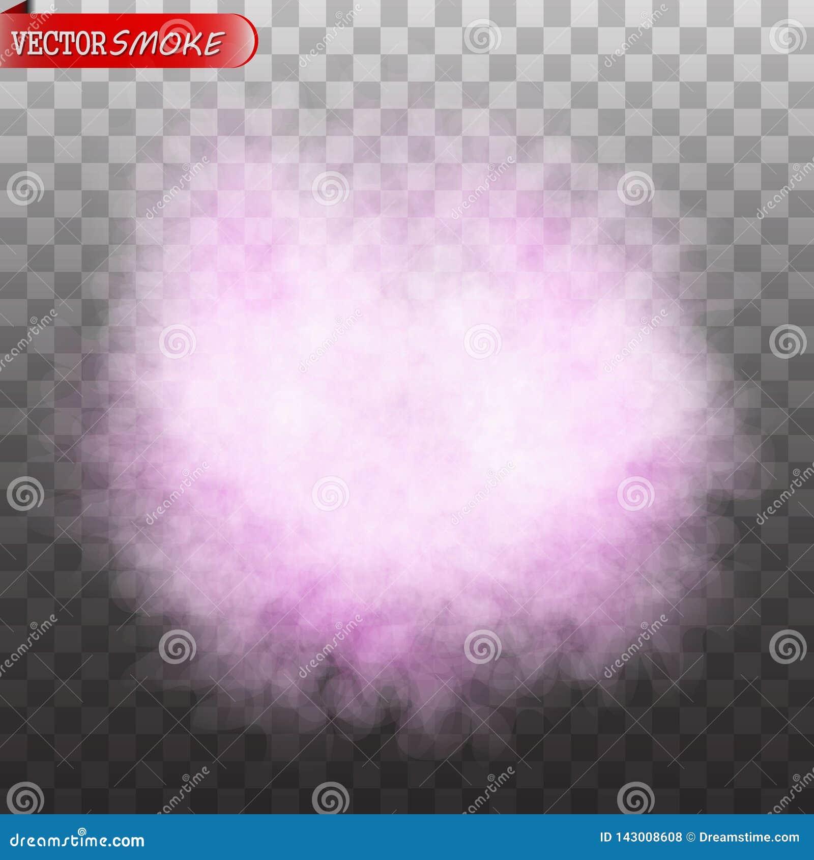 Effetto speciale trasparente isolato colore porpora del fumo o della nebbia
