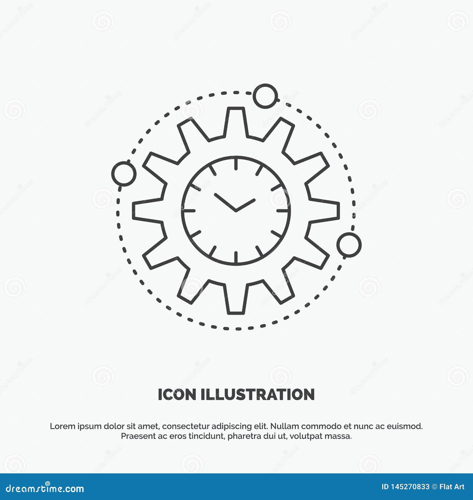 Efficiency, beheer, verwerking, productiviteit, projectpictogram Lijn vector grijs symbool voor UI en UX, website of mobiel