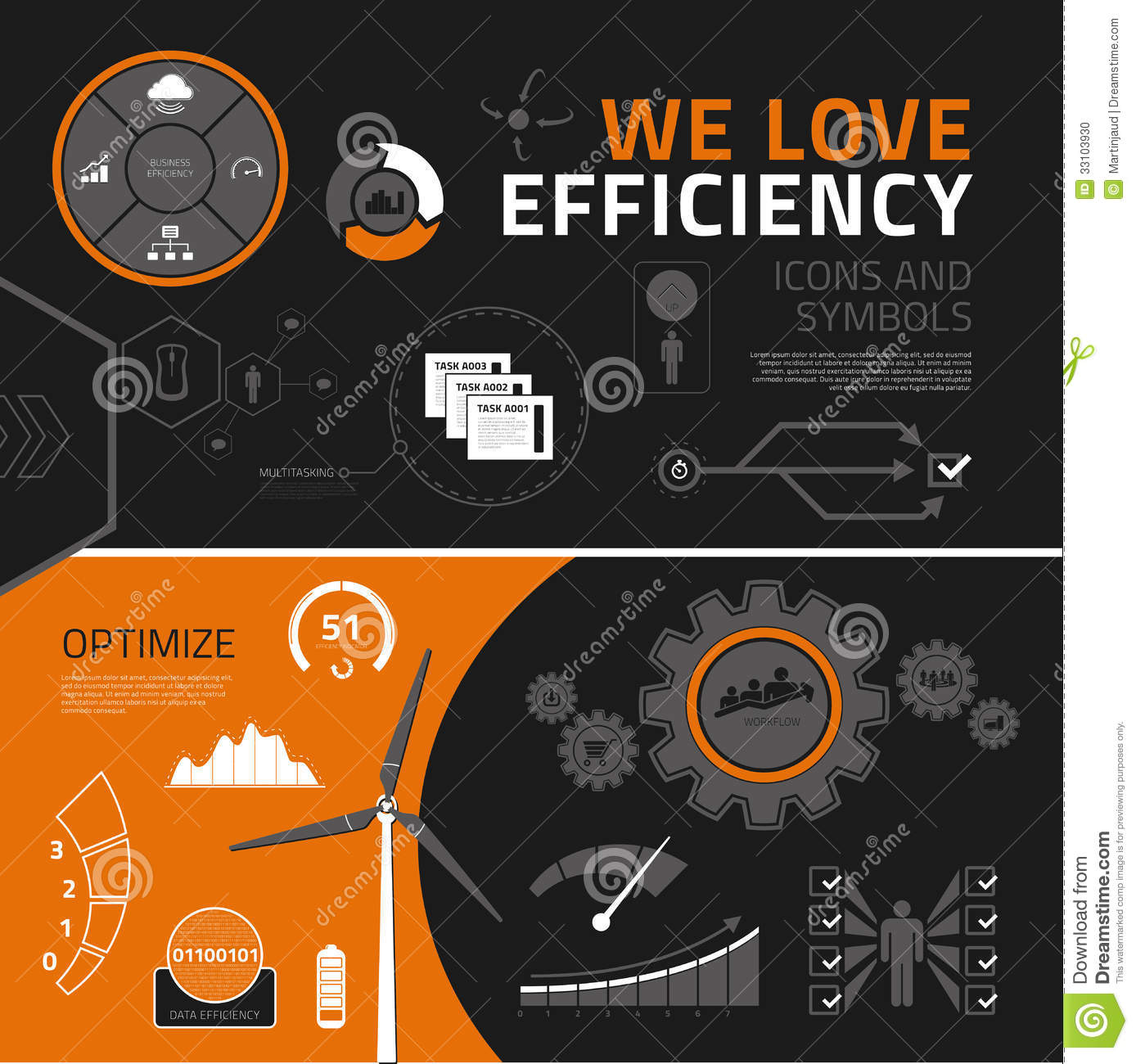 Efficiency Infographic Elements  Icons And Symbols Stock Photo
