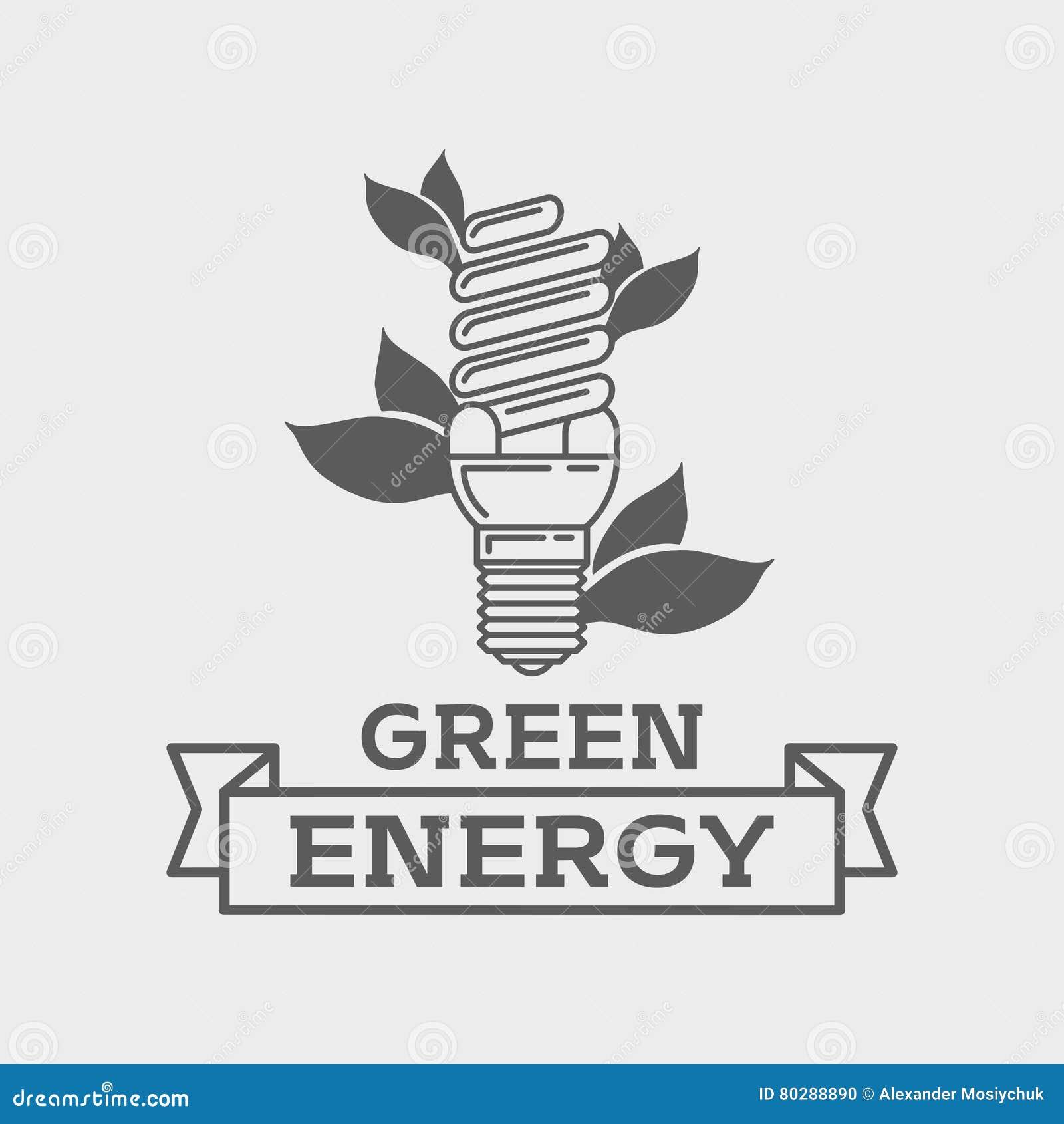Efficient Fluorescent Light Bulb Logo Concept Green Energy Line Art