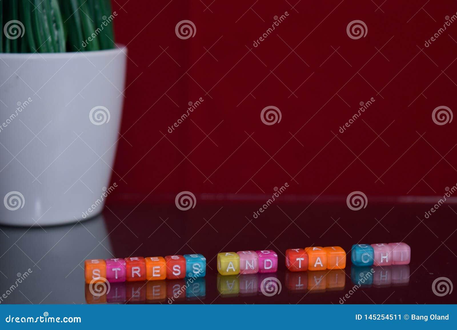 Effort et texte de chi de tai au bloc en bois coloré sur le fond rouge Bureau de bureau et concept d éducation