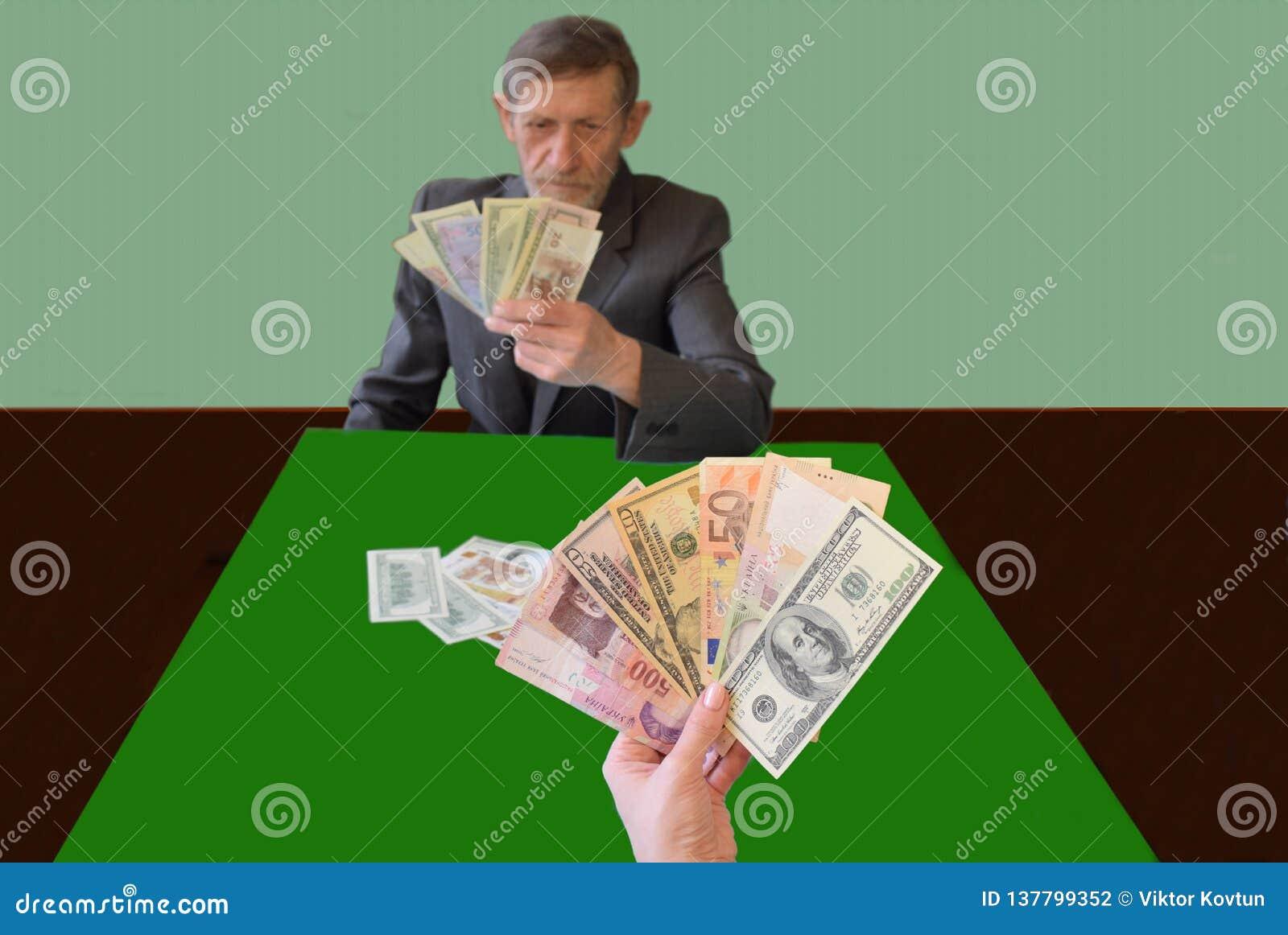 Efterföljd av kortspel, i stället för kort - sedlar