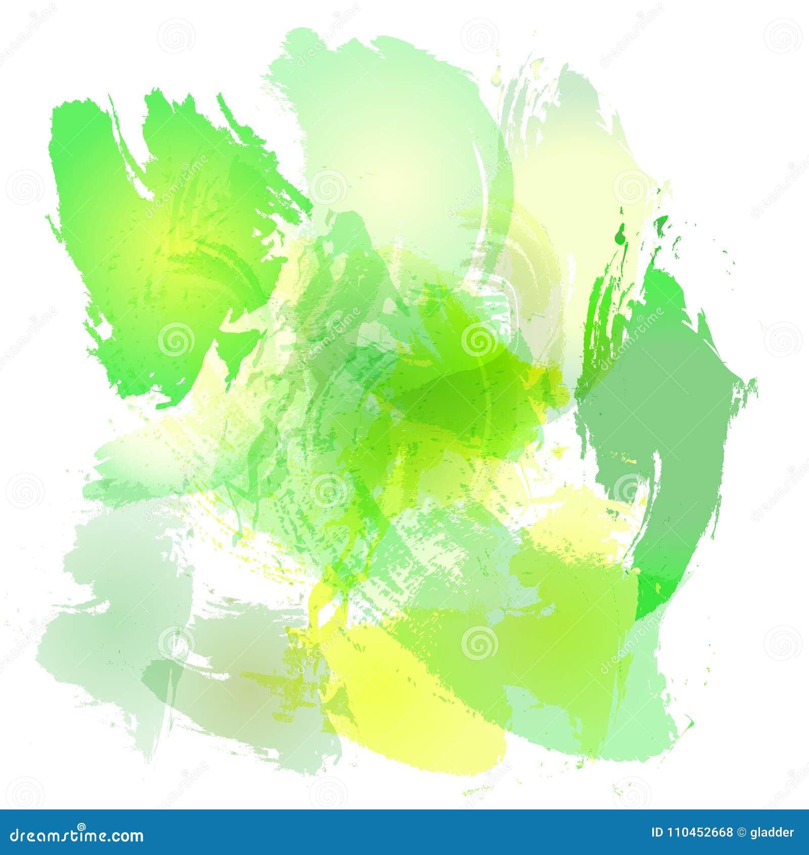 Efterföljd av slaglängder med en vattenfärgborste av guling- och gräsplanvåren färgar på en vitbok, originalborstebackgroun