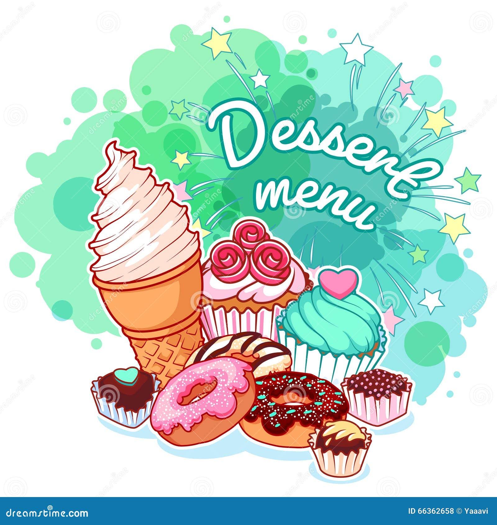 Efterrättmeny med olika sötsaker: glass donuts, choklad