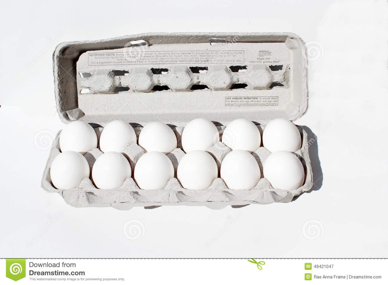 Egg Crate Isolated On White With A Dozen Eggs. Stock Photo ...