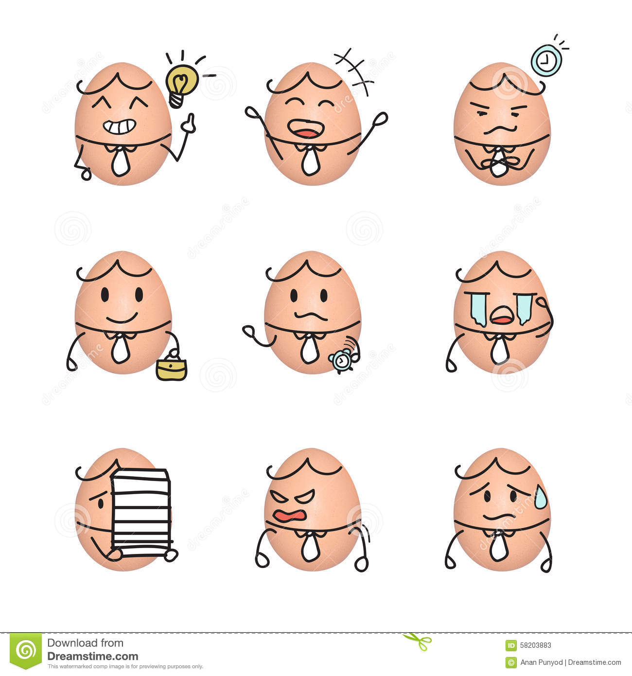 Egg Emoticon Business Man Action Cartoon Cute To Draw The Line