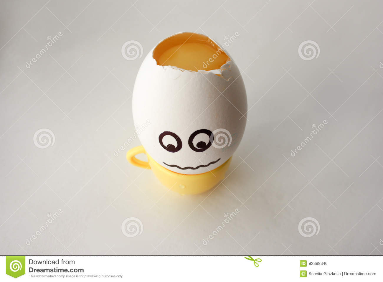An Egg With A Face  Funny And Sweet  HEADACHE  Stock Photo