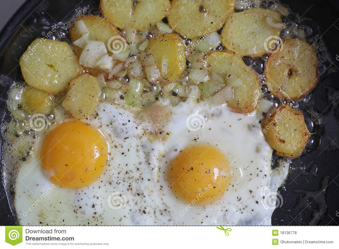 Egg And Fried Potatoes Royalty Free Stock Photos - Image: 18136778