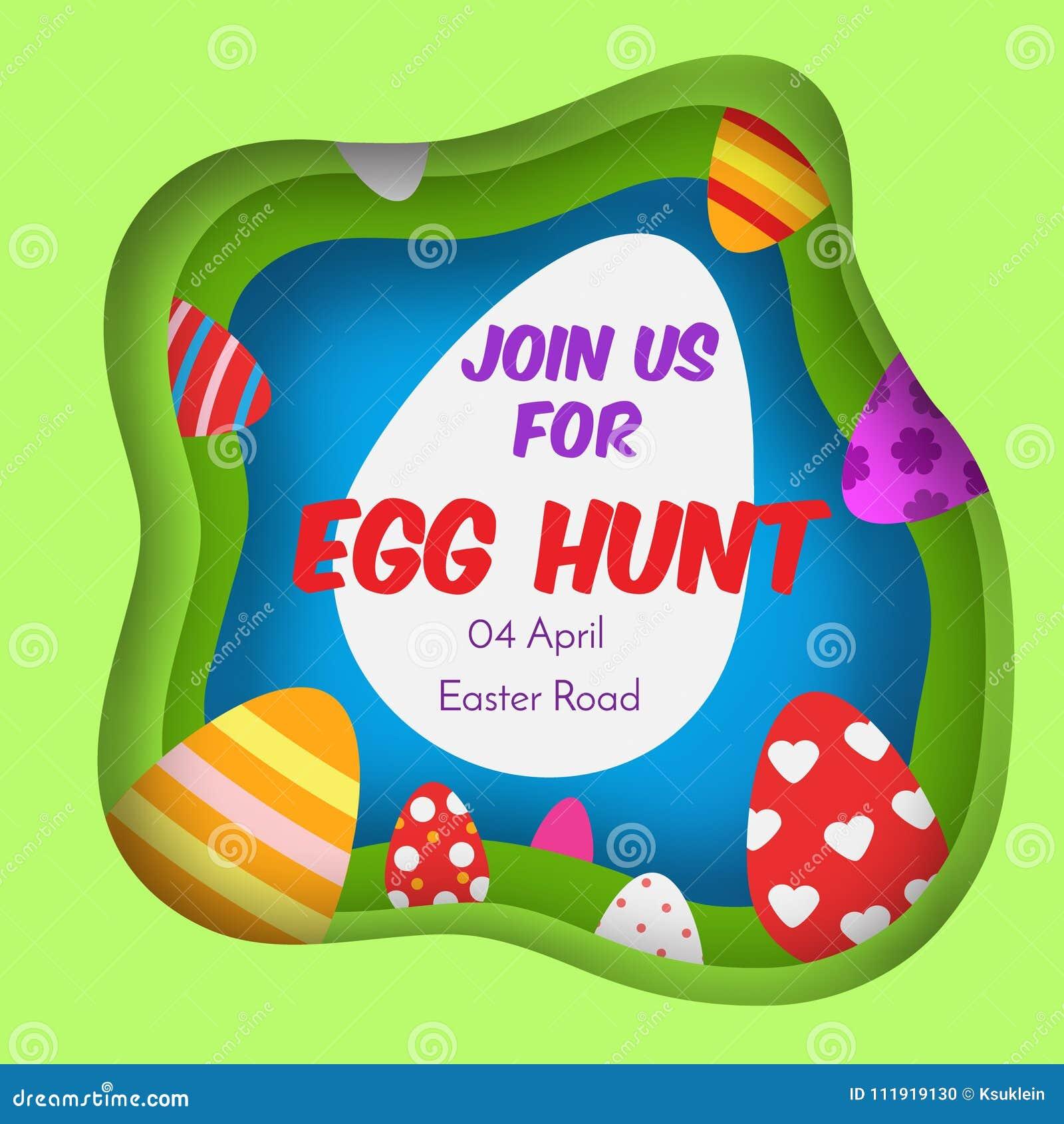 Egg Hunt Colorful Easter Banner Background In Paper Cut Paper