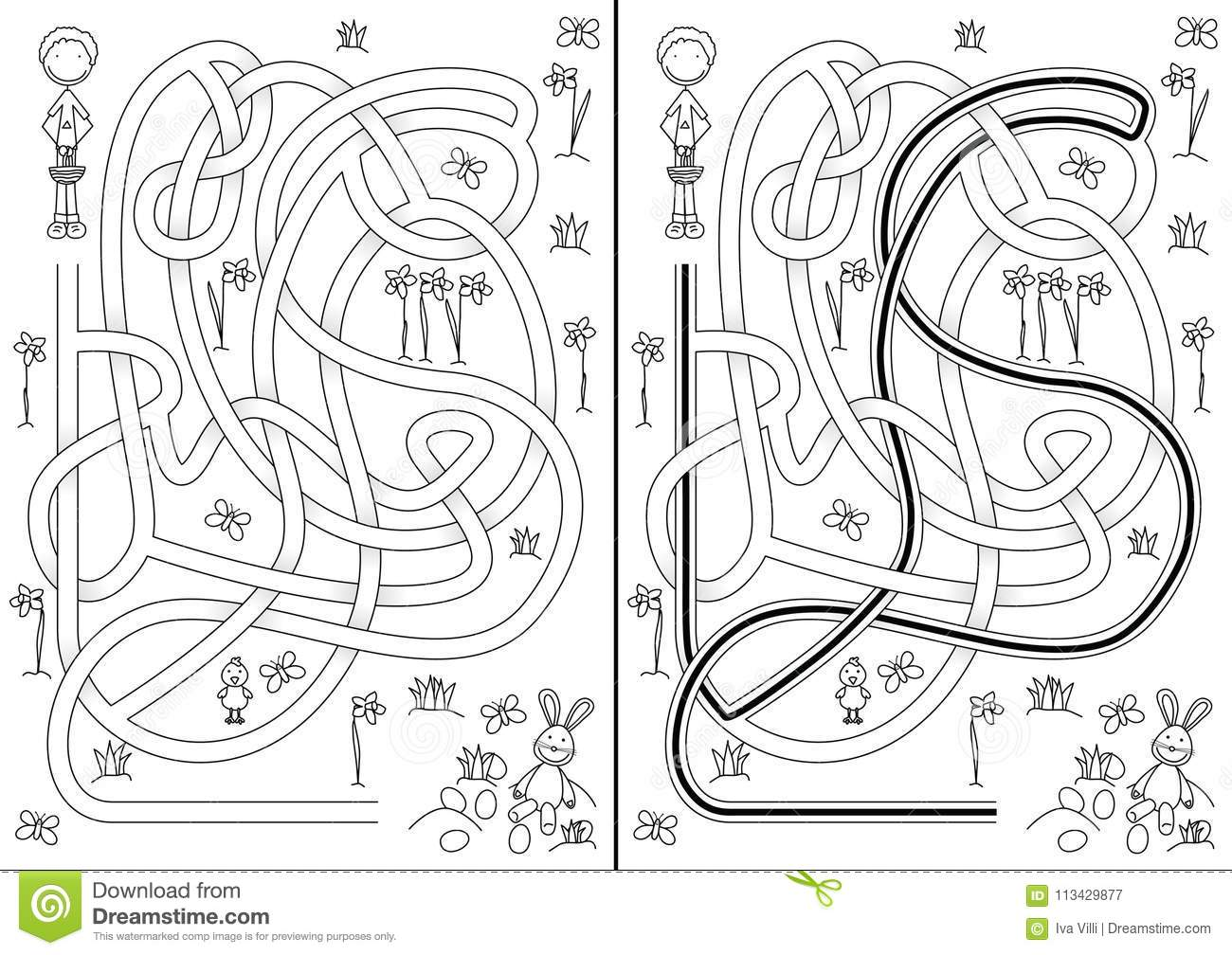 Egg hunt maze stock vector. Illustration of easter, puzzle ...