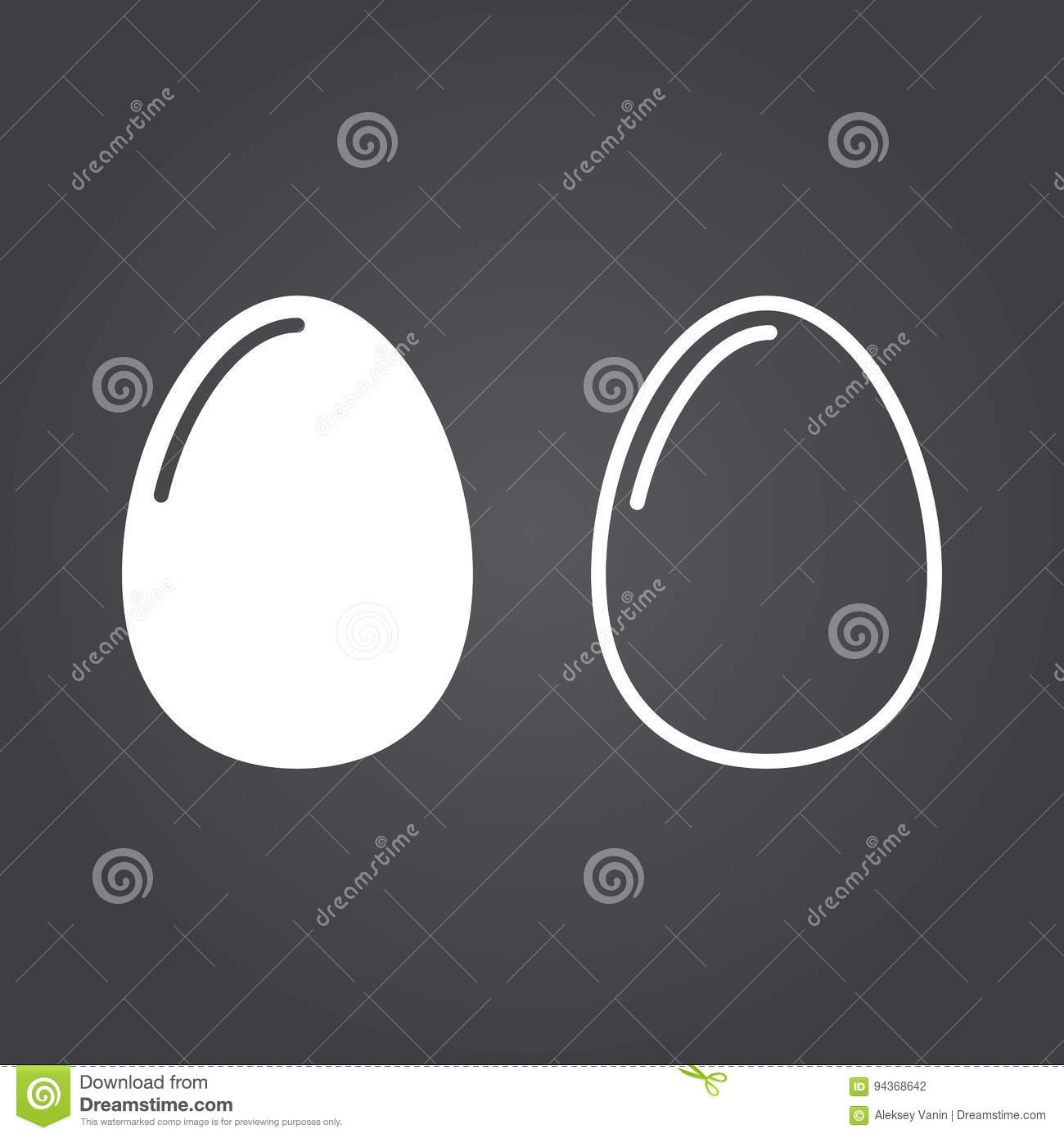 Egg Icon  Solid And Outline Versions  White Icons On A Dark