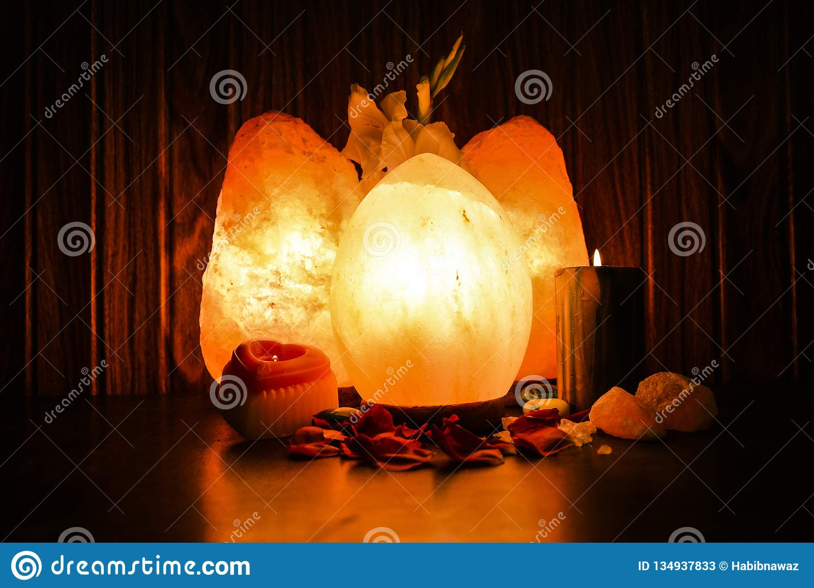 Egg & Natural Salt Lamps | Himalayan Salt Stock Image - Image of