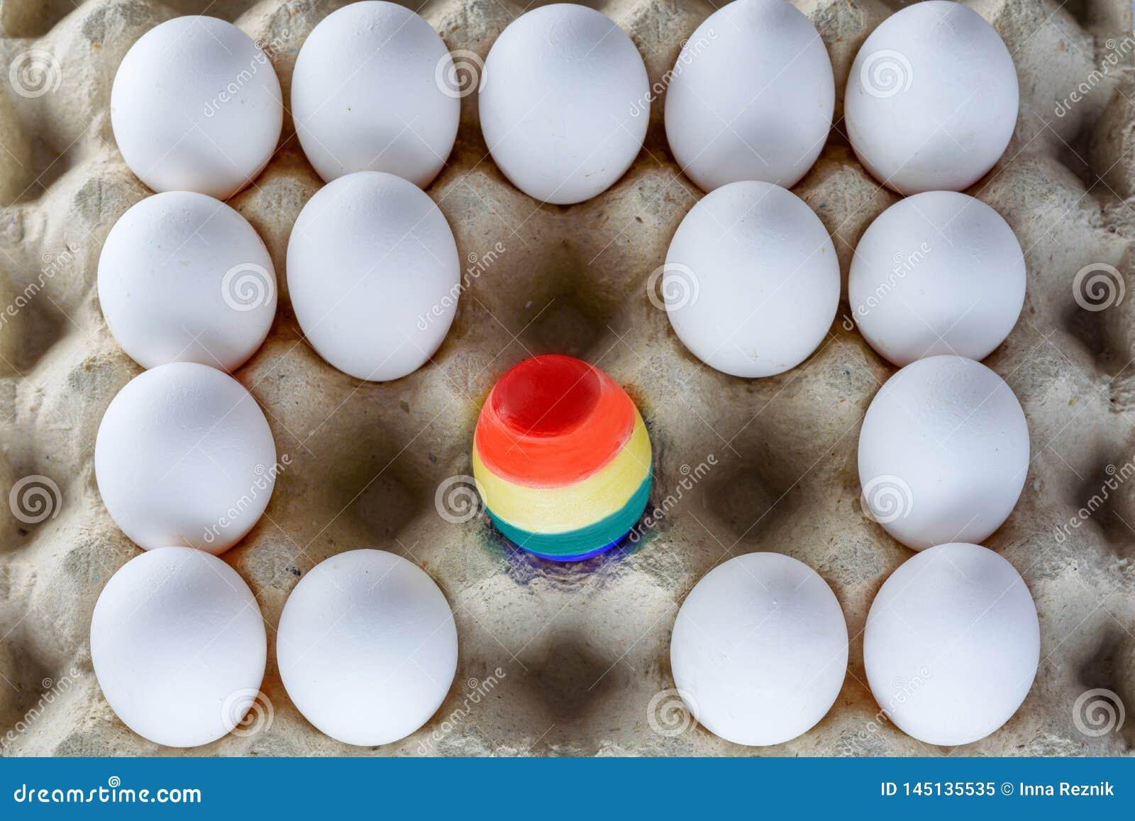 Egg painted like a LGBT flag. Pride month LGBT rights lesbian gay bisexual transgender. Rainbow flag symbol Pride month.