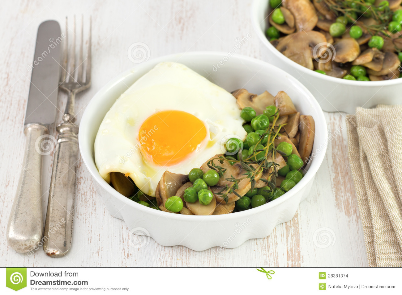 Egg With Peas And Mushrooms Stock Images - Image: 28381374