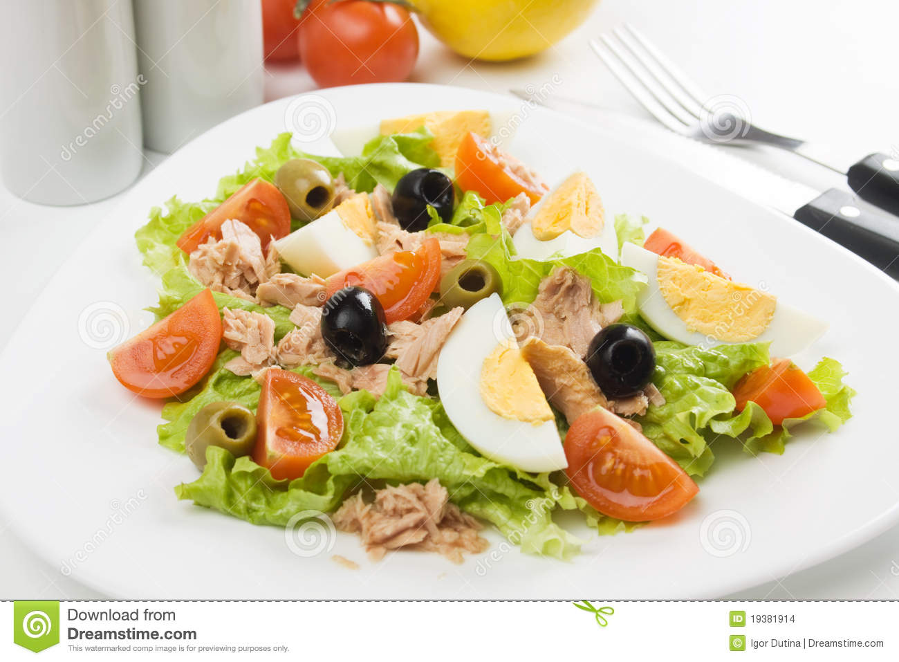 Egg salad with tuna meat, cherry tomato, olives and lettuce.