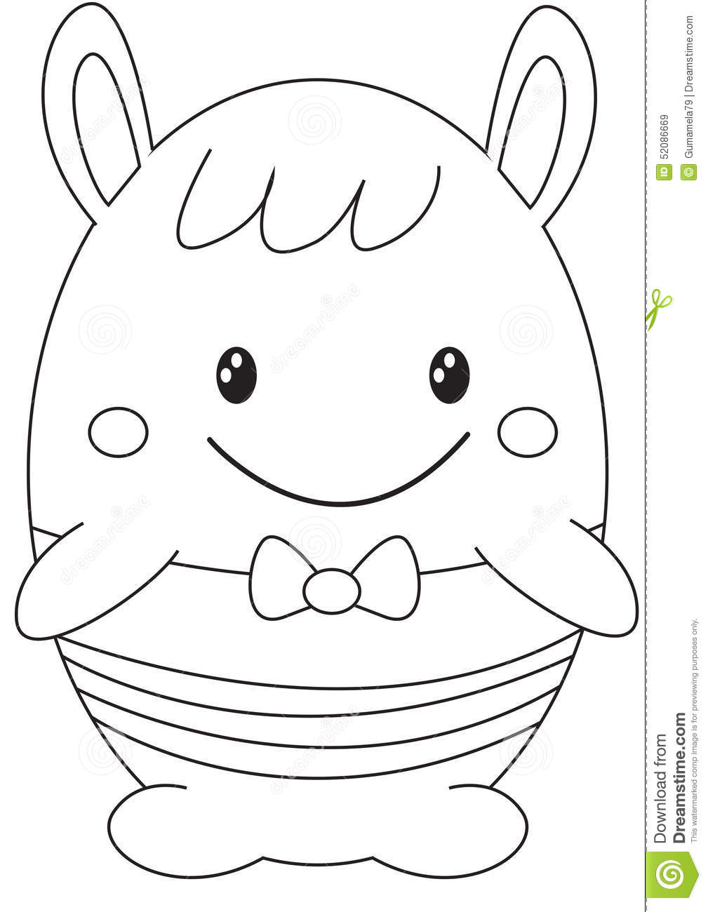 Egg Shaped Stuffed Toy Coloring Page Stock Illustration