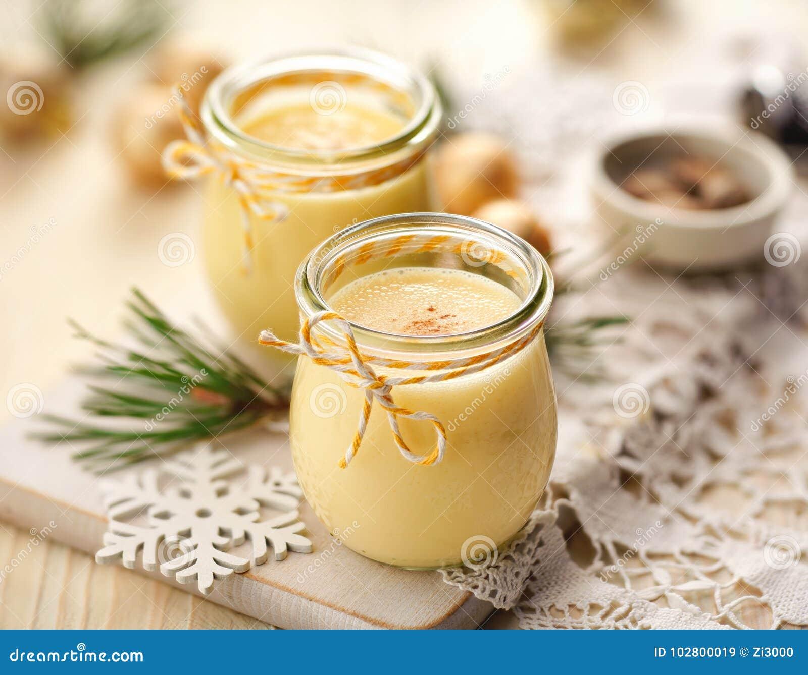Eggnog Alcoholic Beverage Served With Cinnamon Or Nutmeg