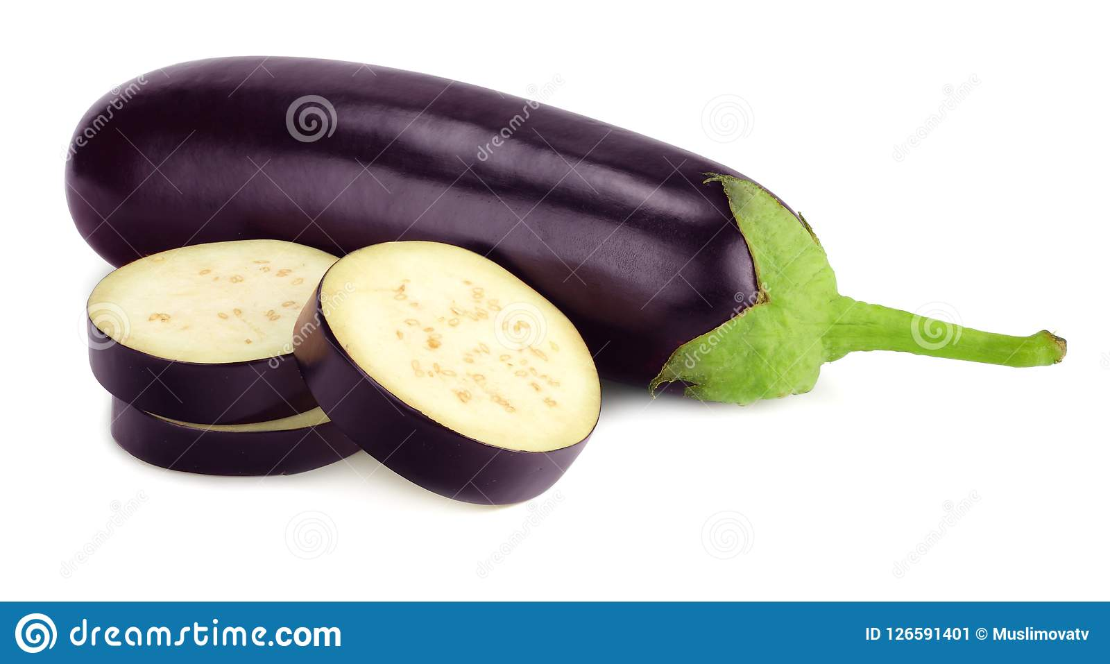 eggplant with slices isolated on white background. healthy food