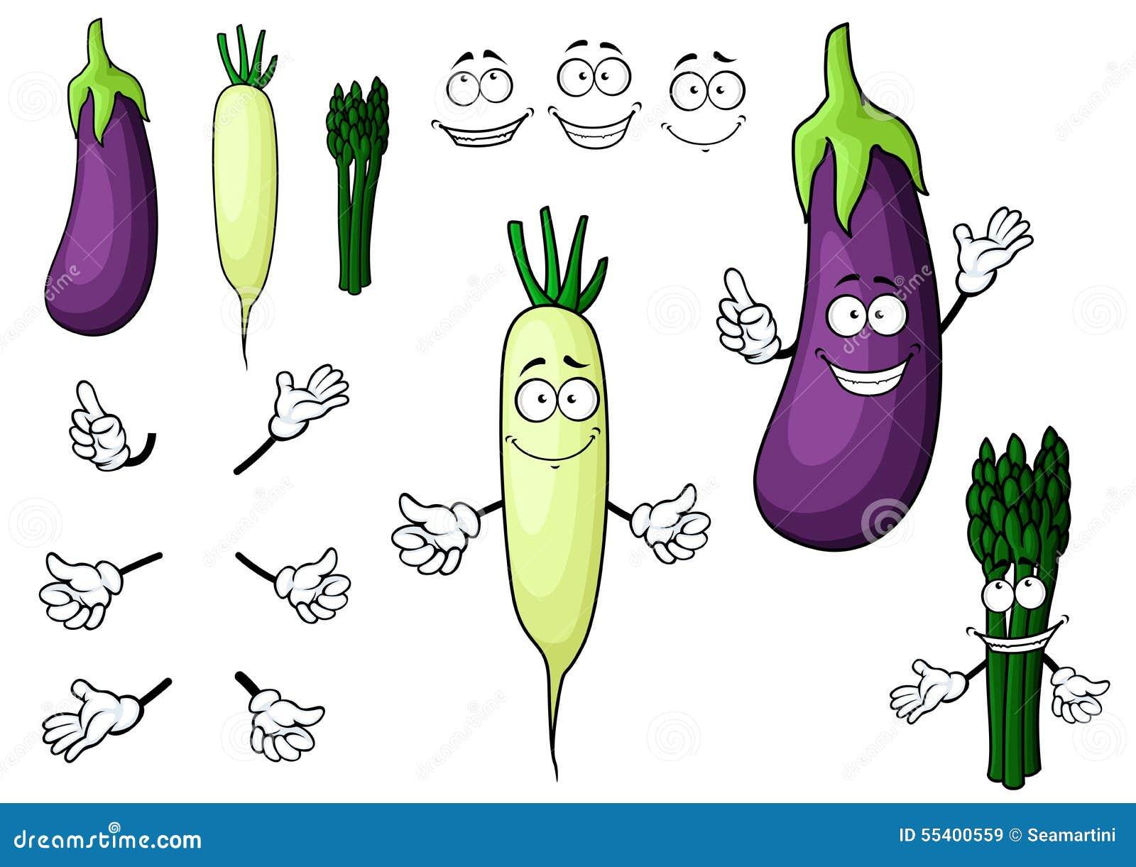 Eggplant, White Radish, Asparagus Vegetables Stock Vector