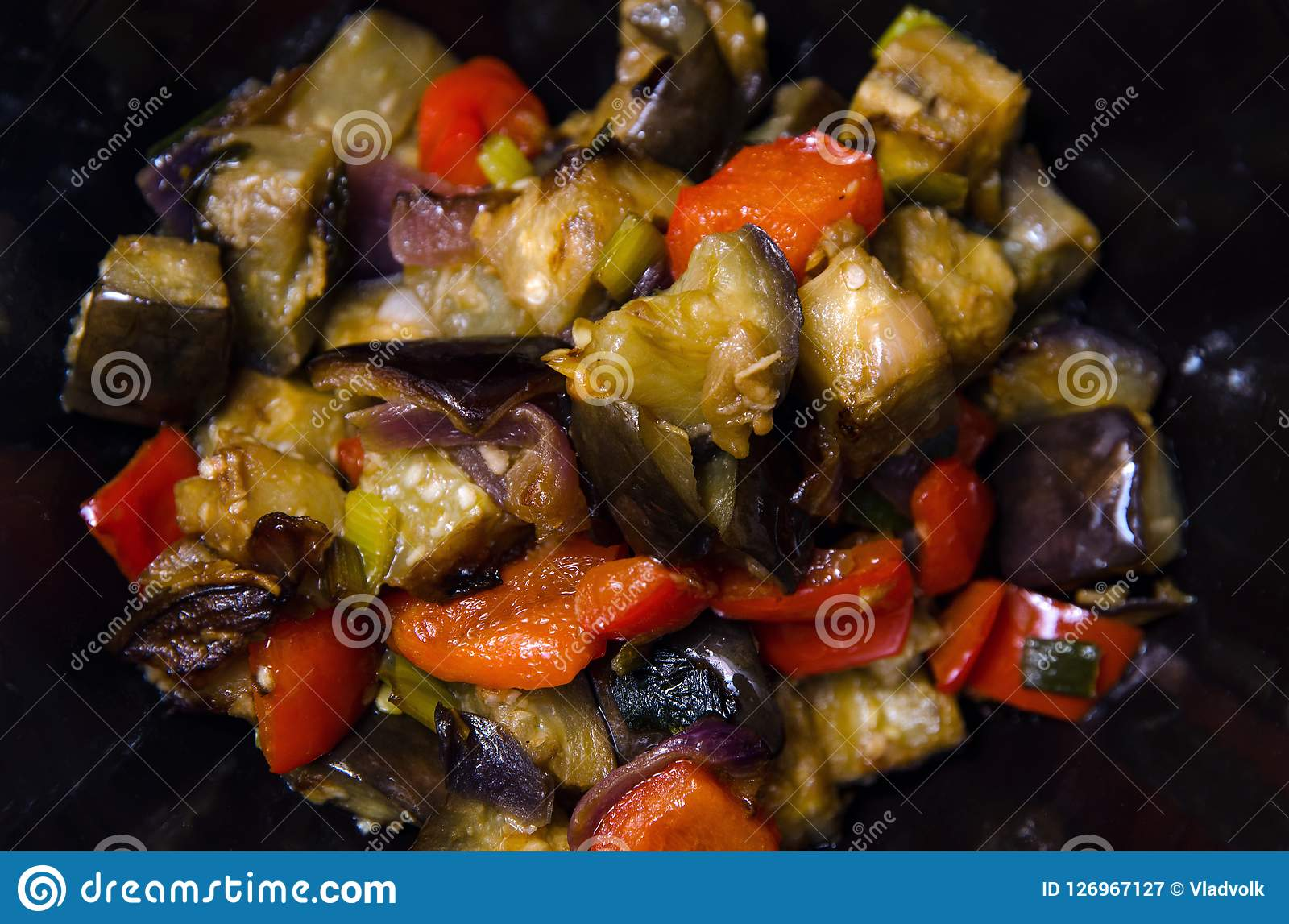 Eggplants and pepper with garlic, onion and soy sause, chinese recipe