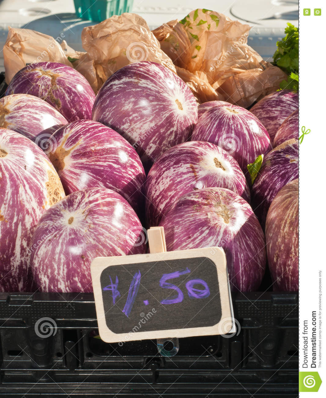 Eggplants for sale stock image  Image of sale, plastic
