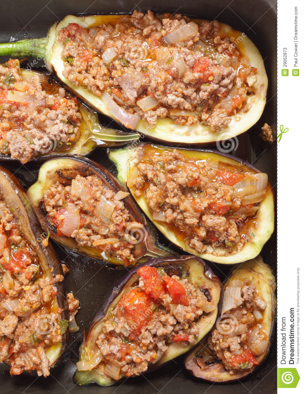 Eggplants Stuffed With Meat Sauce Stock Photos - Image: 29052873
