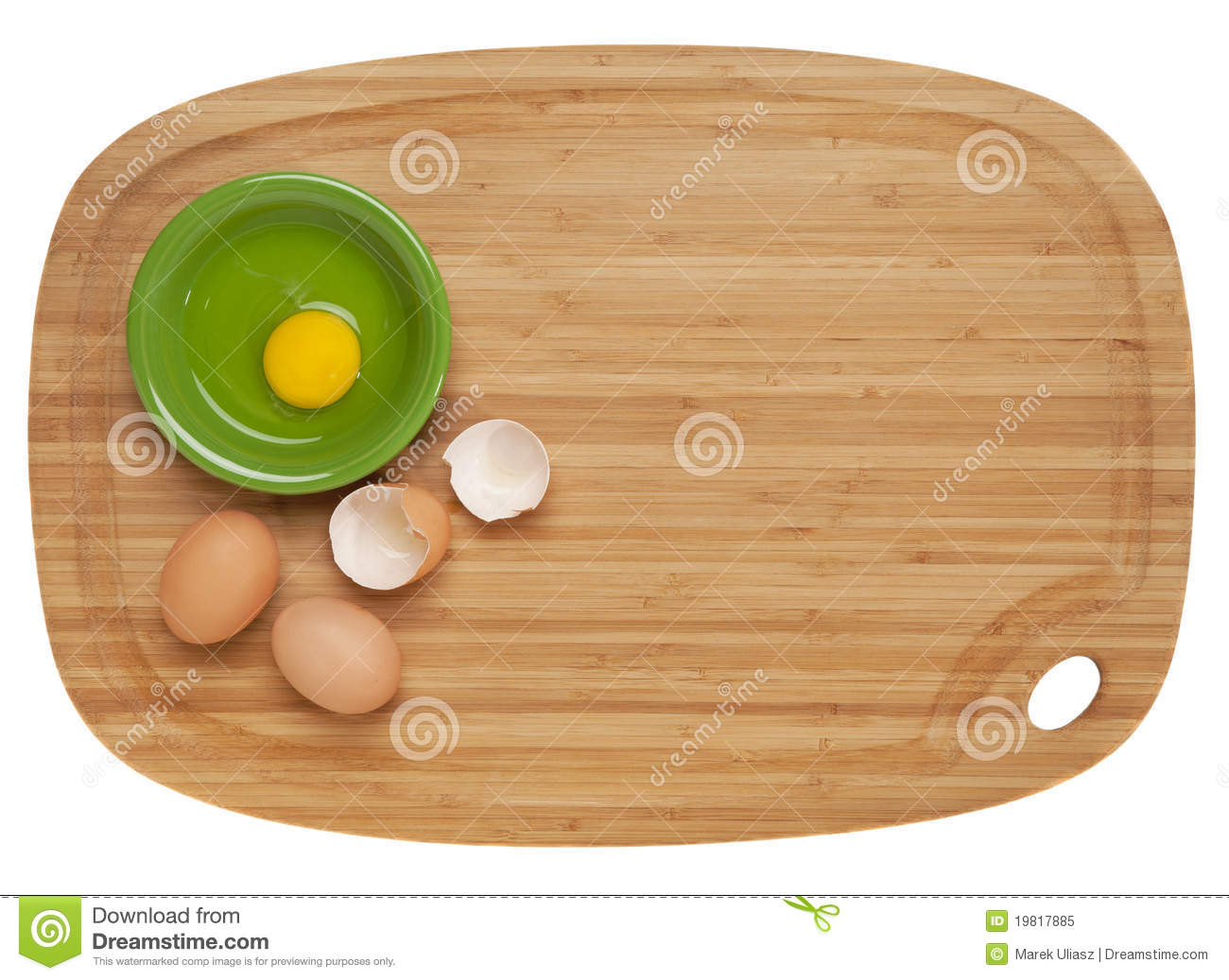 Eggs on bamboo board royalty free stock photo image 19817885 - Cutting board with prep bowls ...