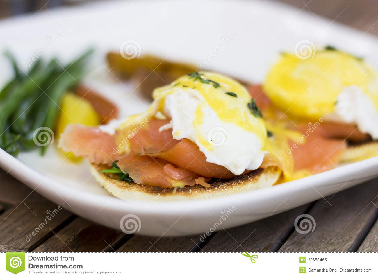 Eggs Benedict With Bearnaise Sauce  Smoked Salmon Royalty Free