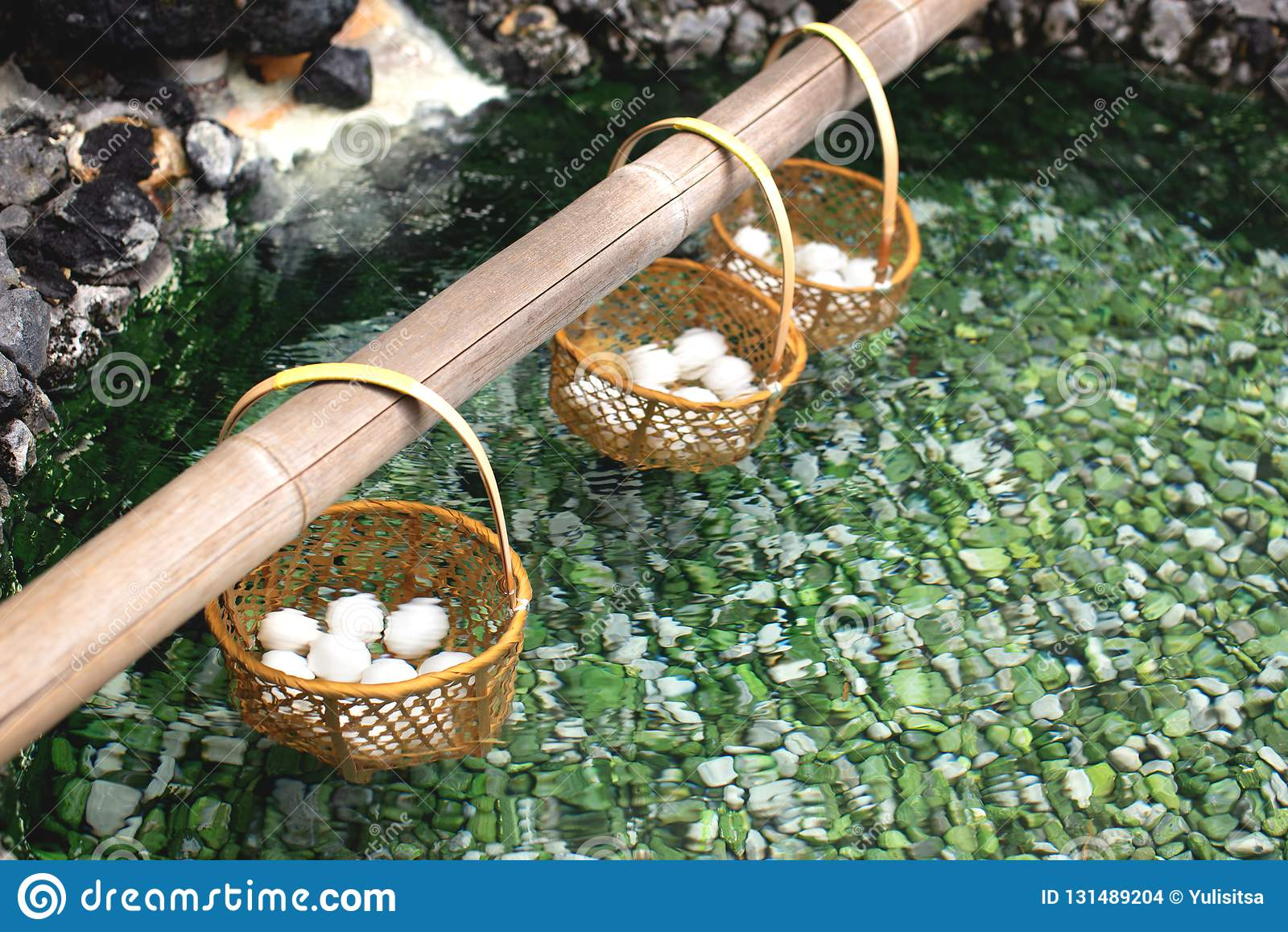 Eggs boiled in hot spring