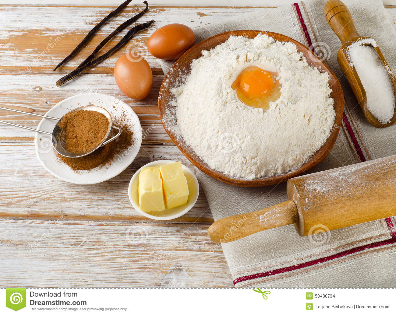 ... , Sugar, Butter On White Wooden Table Stock Photo - Image: 50480734