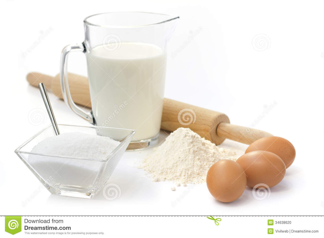Eggs, Flour, Sugar And Milk Stock Photo - Image: 34638620