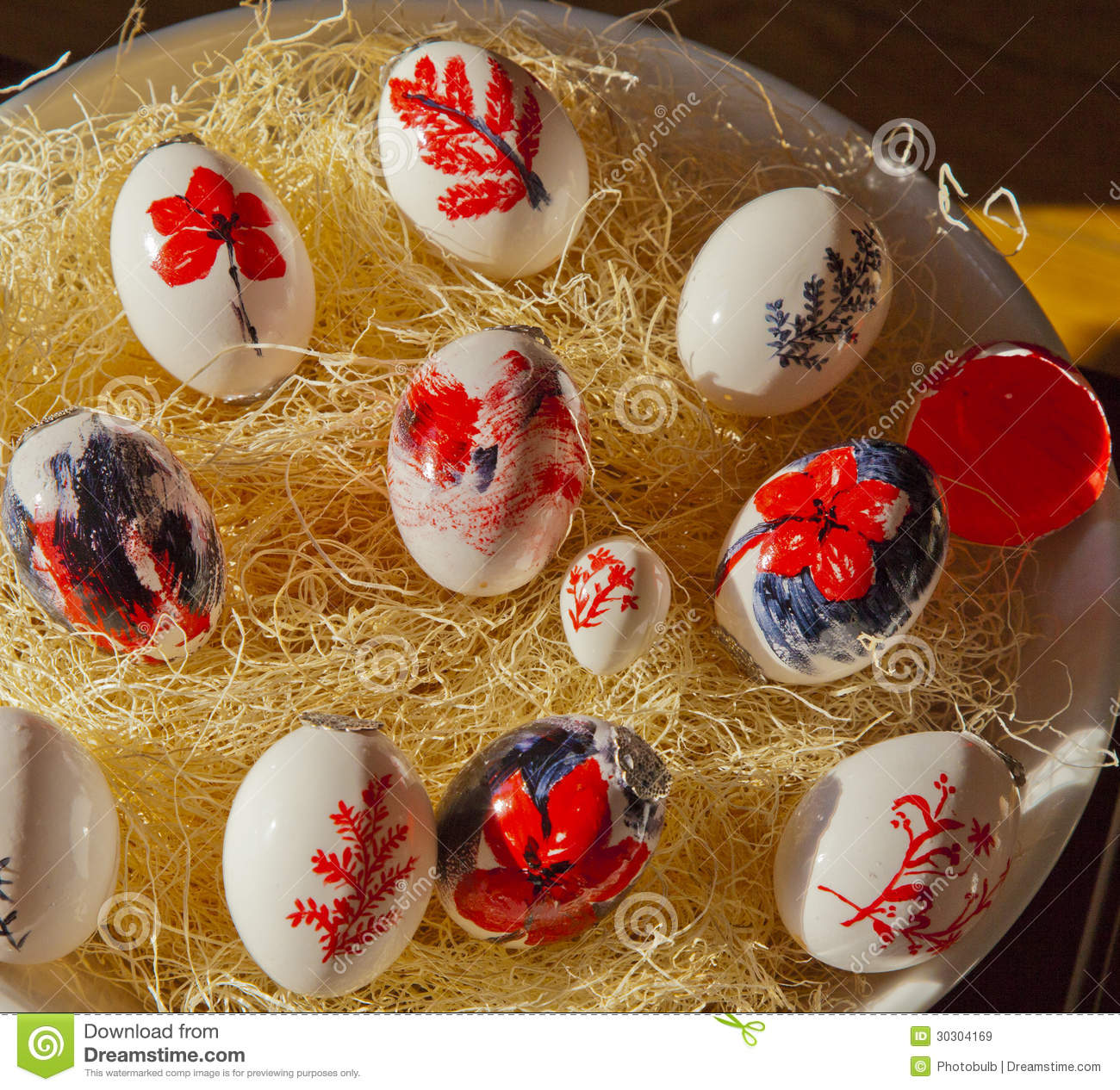 Bowl Of Hand Painted Easter Eggs Stock Image Image Of