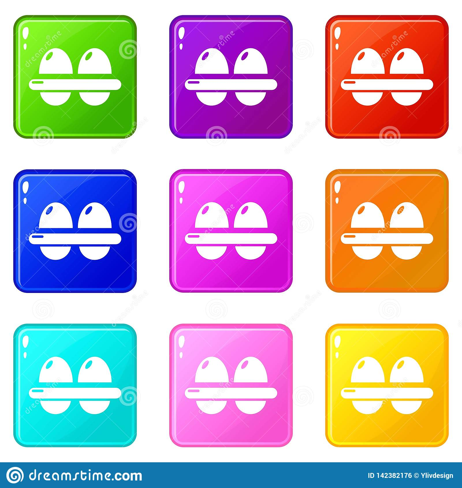 Eggs icons set 9 color collection