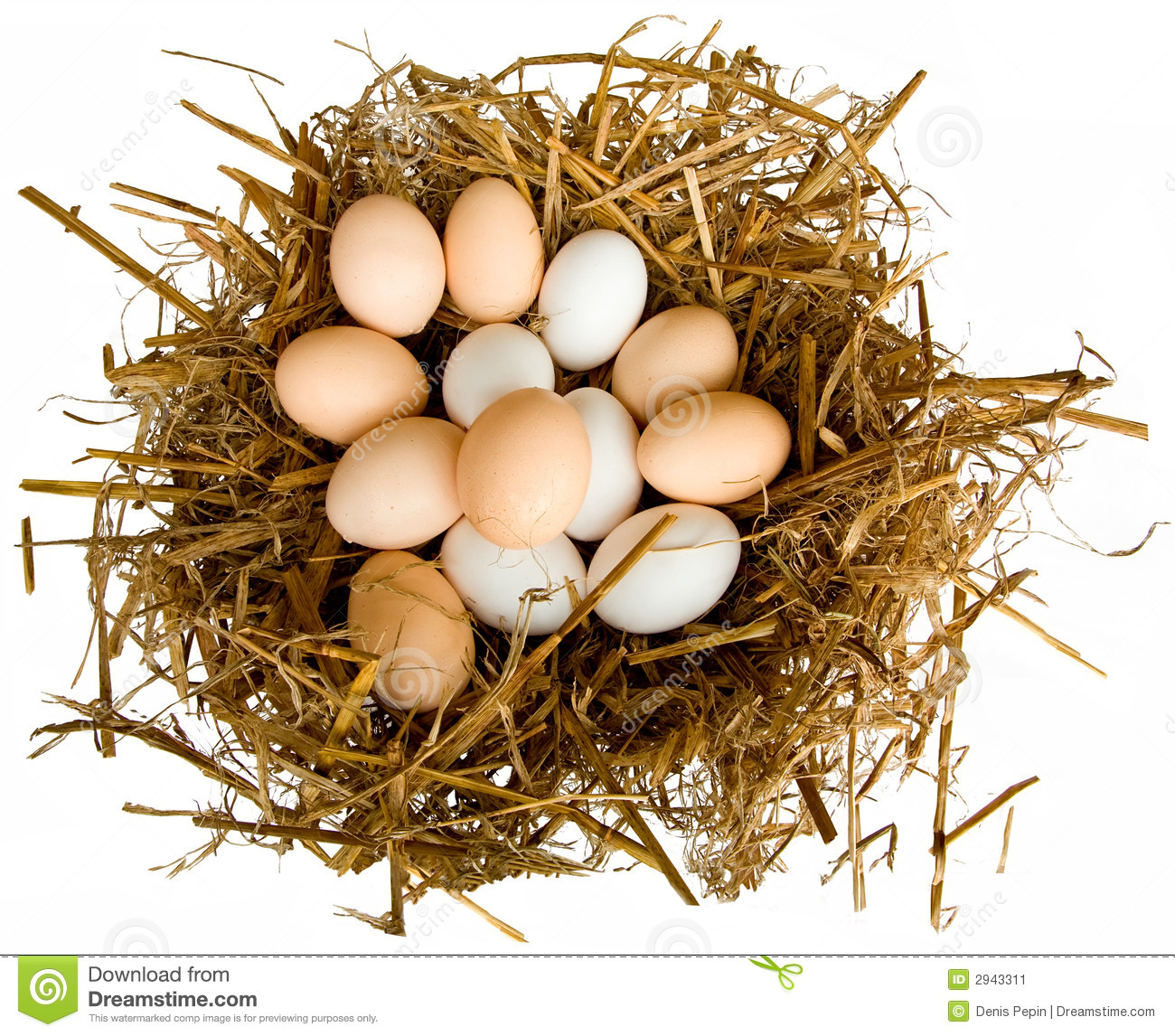 This is a closeup of several eggs in a nest.