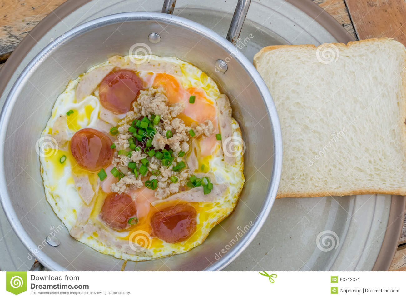 Eggs On Pan For Breakfast Thailand Style Stock Image Image Of Thailand Style 53713371
