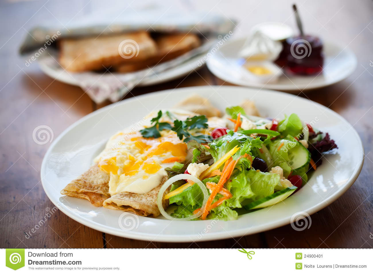 Eggs with salads