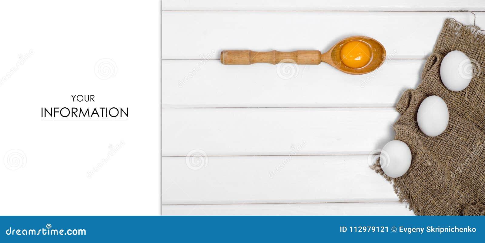 Eggs wooden spoon yolk female hand pattern
