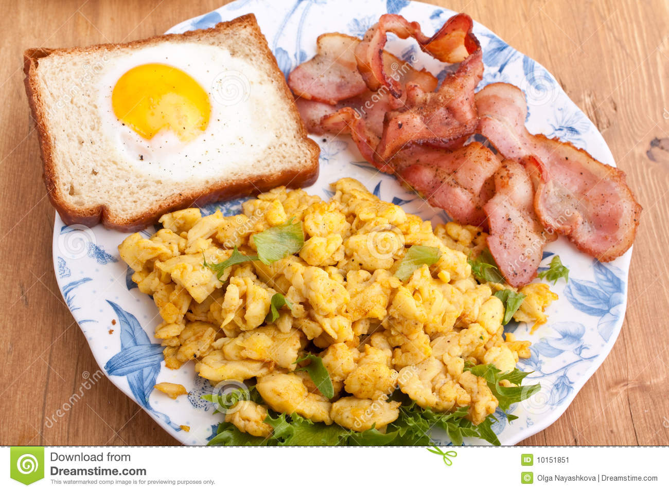 Eggy Bread, Eggs And Bacon Stock Image - Image: 10151851