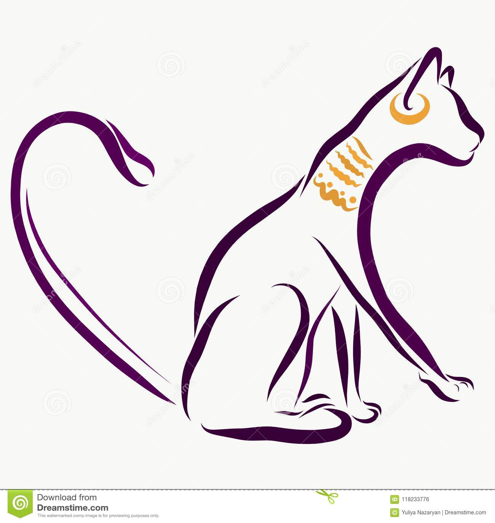 Egipski kot z biżuterią, nakreślenie