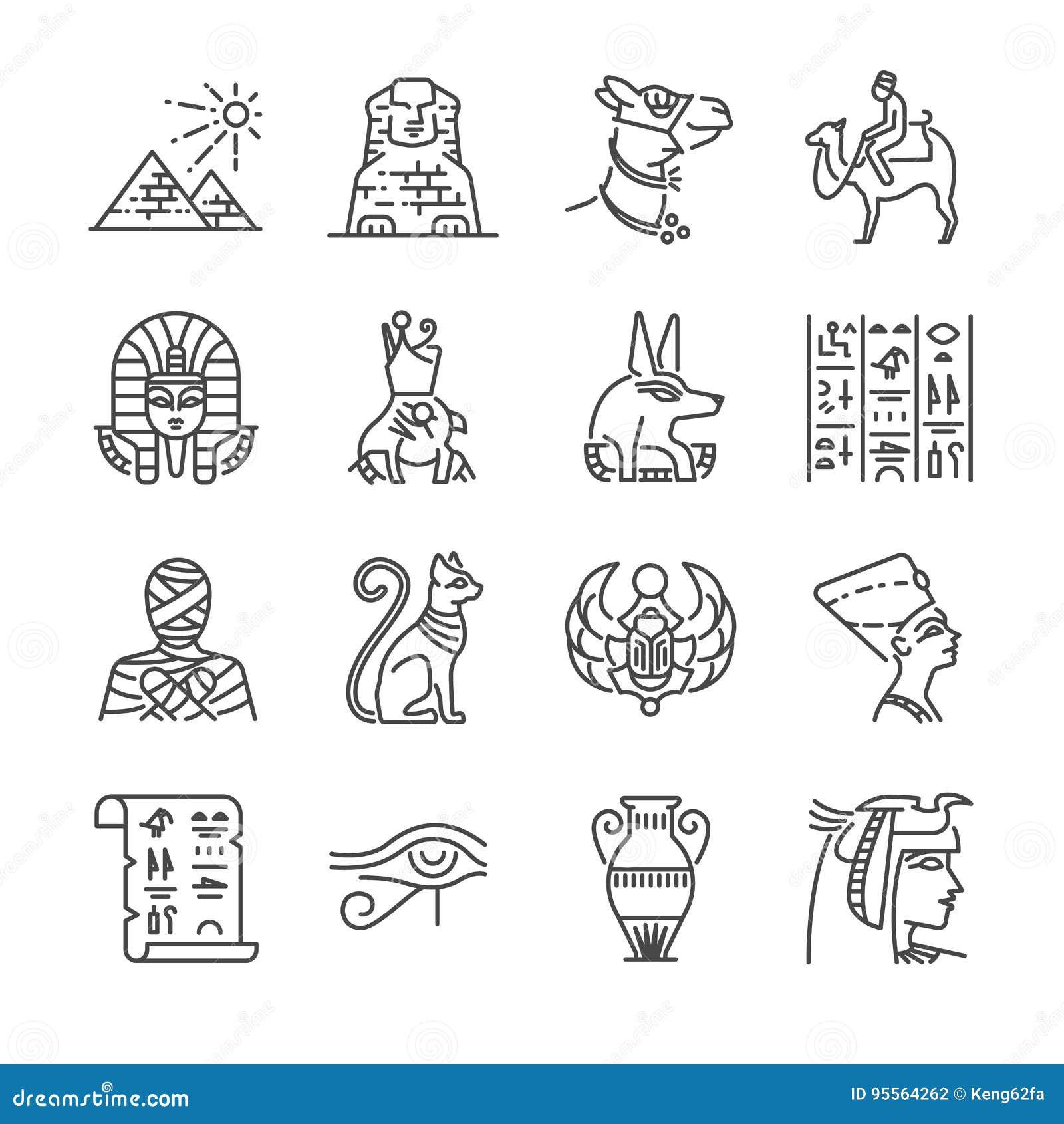 Egipt linii ikony set Zawrzeć ikony jako Pharaoh, ostrosłup, mamusia, Anubis, wielbłąd i więcej,