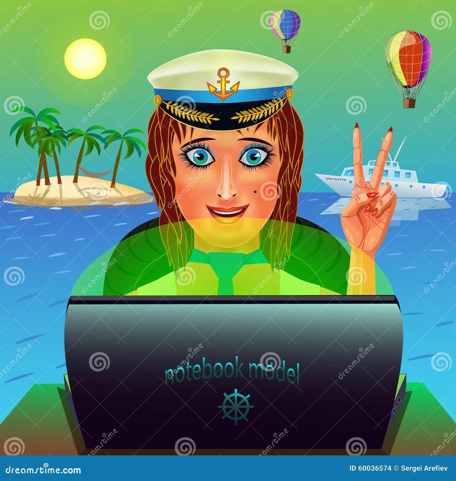 Żeglarz dziewczyna z laptopem