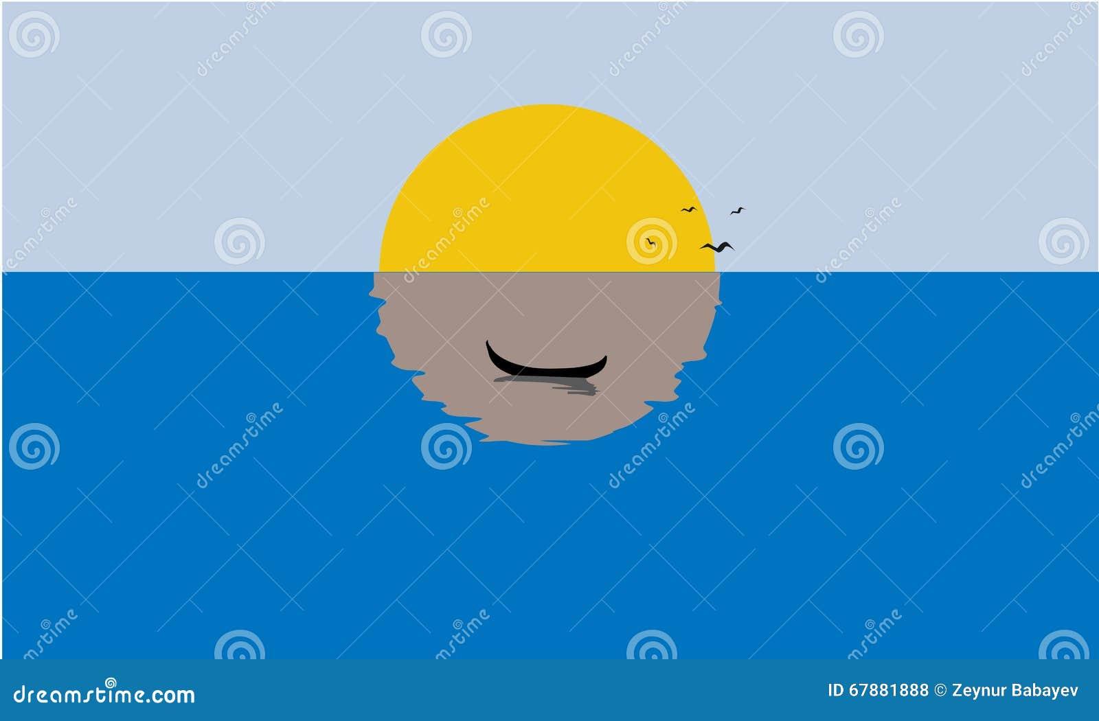 Żeglowanie łódź, Mglisty zmierzch, odbicie na wodzie Bryła, płaski kolor