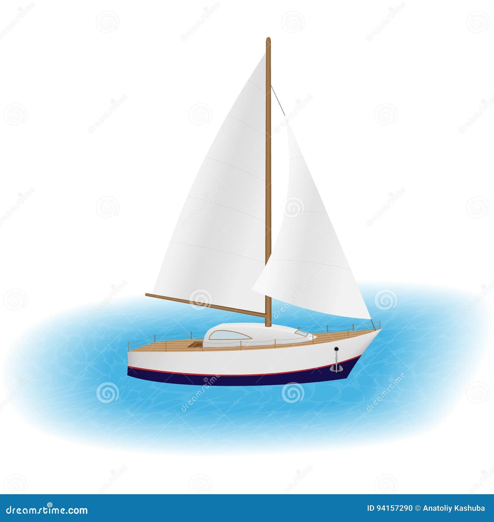 Żeglowanie jacht z bielem żegluje w morzu Luksusowa przyjemności łódź Żaglówka podróżuje wokoło światu z wiatrem