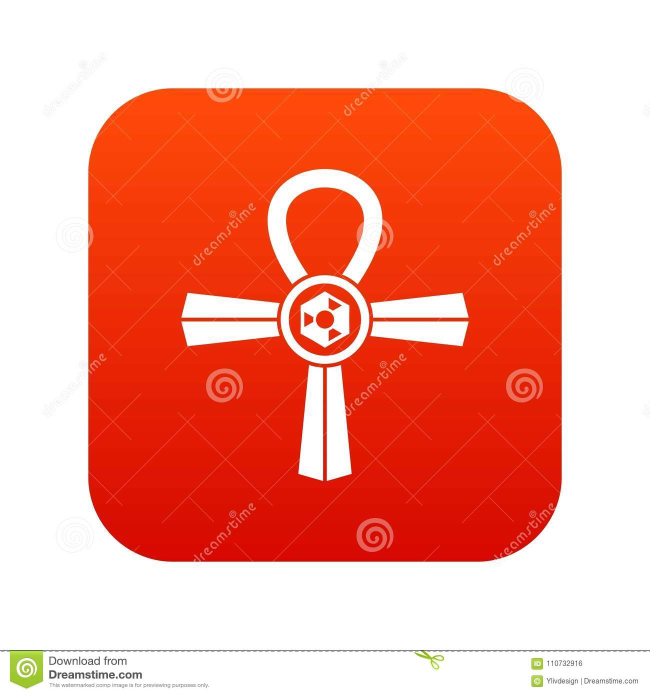 Egypt Ankh Symbol Icon Digital Red Stock Vector Illustration Of