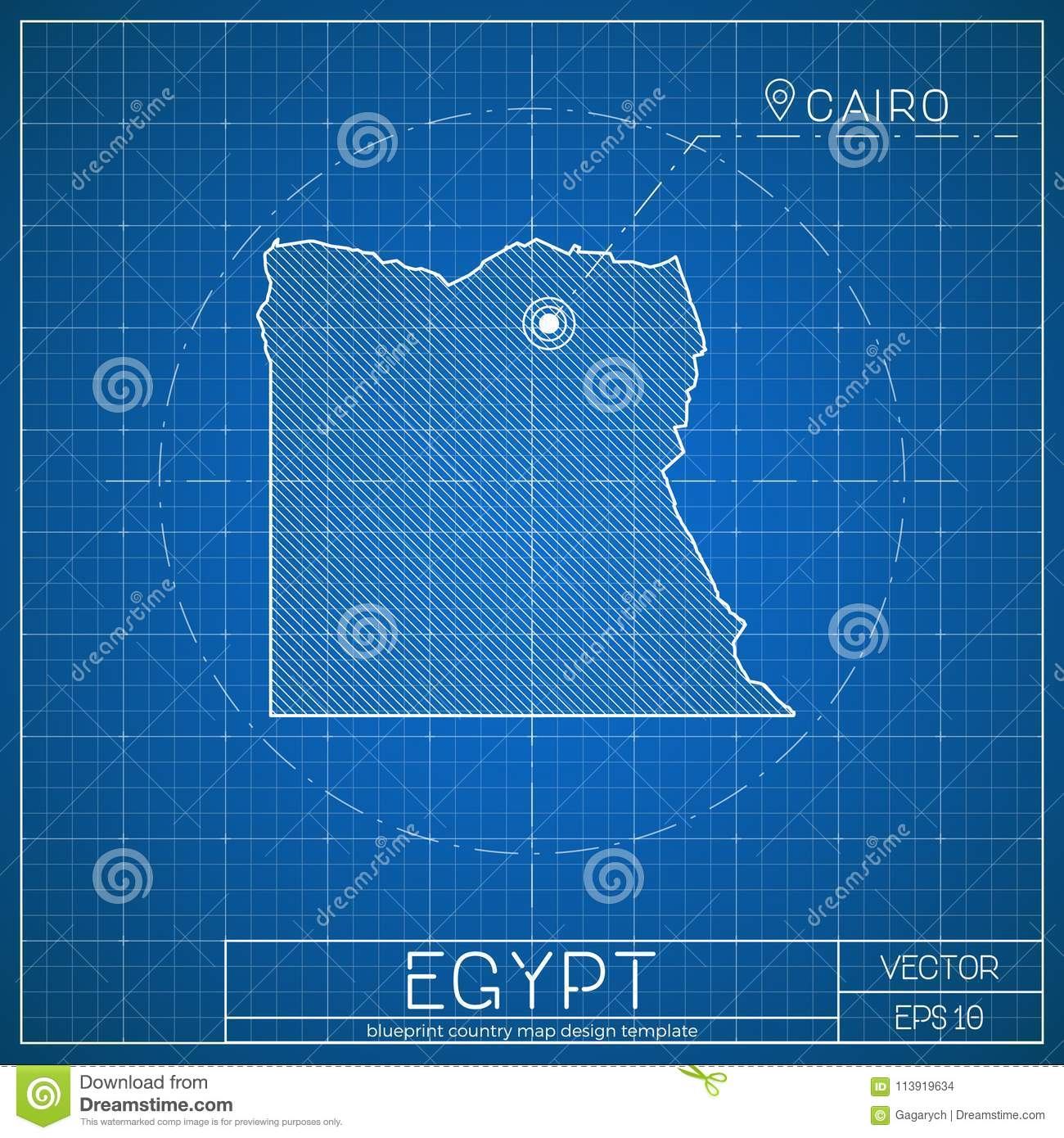 Egypt Blueprint Map Template With Capital City. Stock Vector ... on
