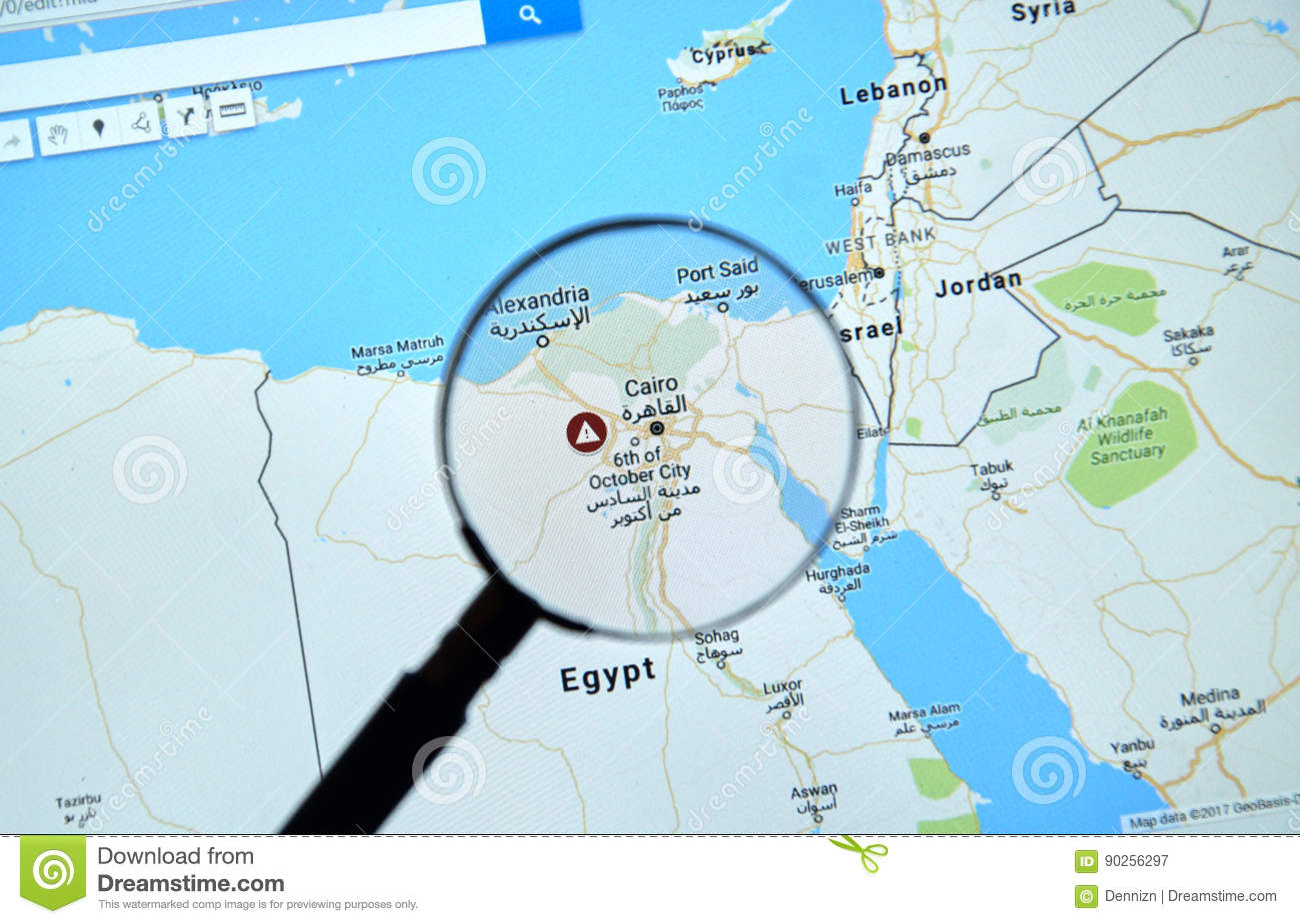 Egypt And Cairo On Google Maps Editorial Photography - Image of blue ...