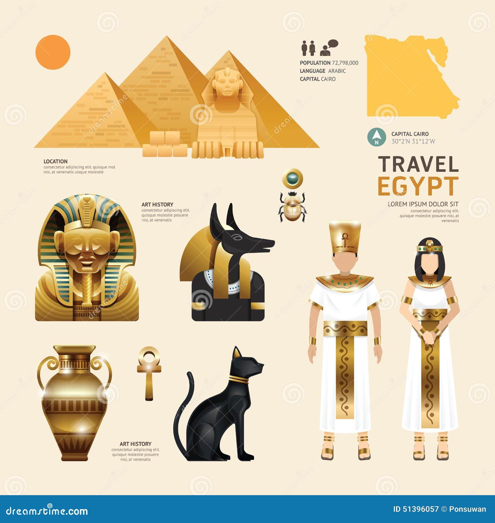 Egypt Flat Icons Design Travel Concept. Vector
