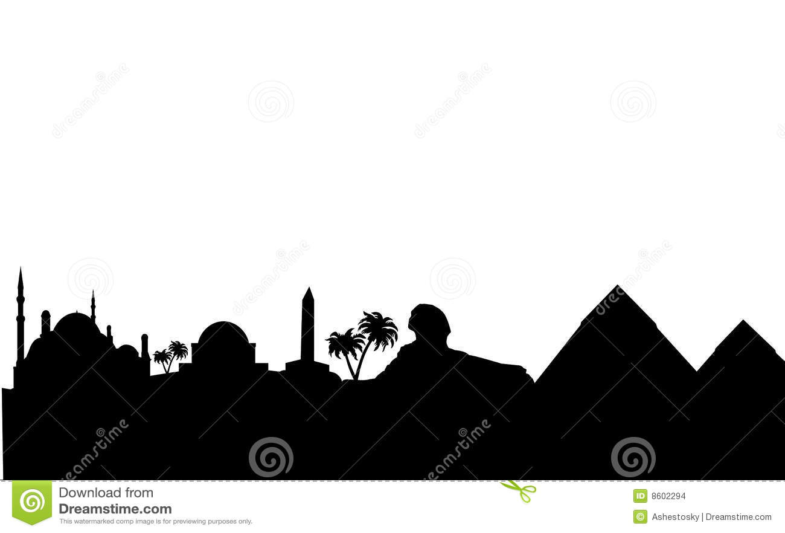 Egypt landmarks silhouette horisont