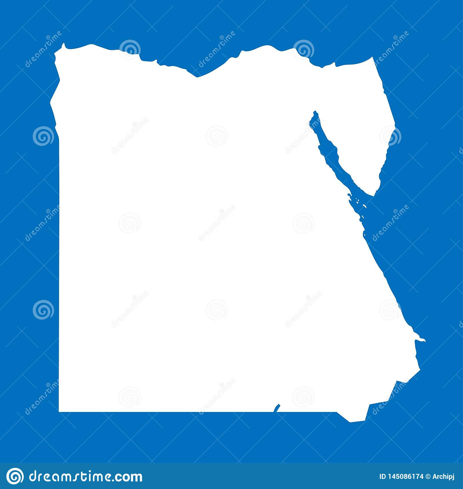 Egypt map on blue background, Vector Illustration