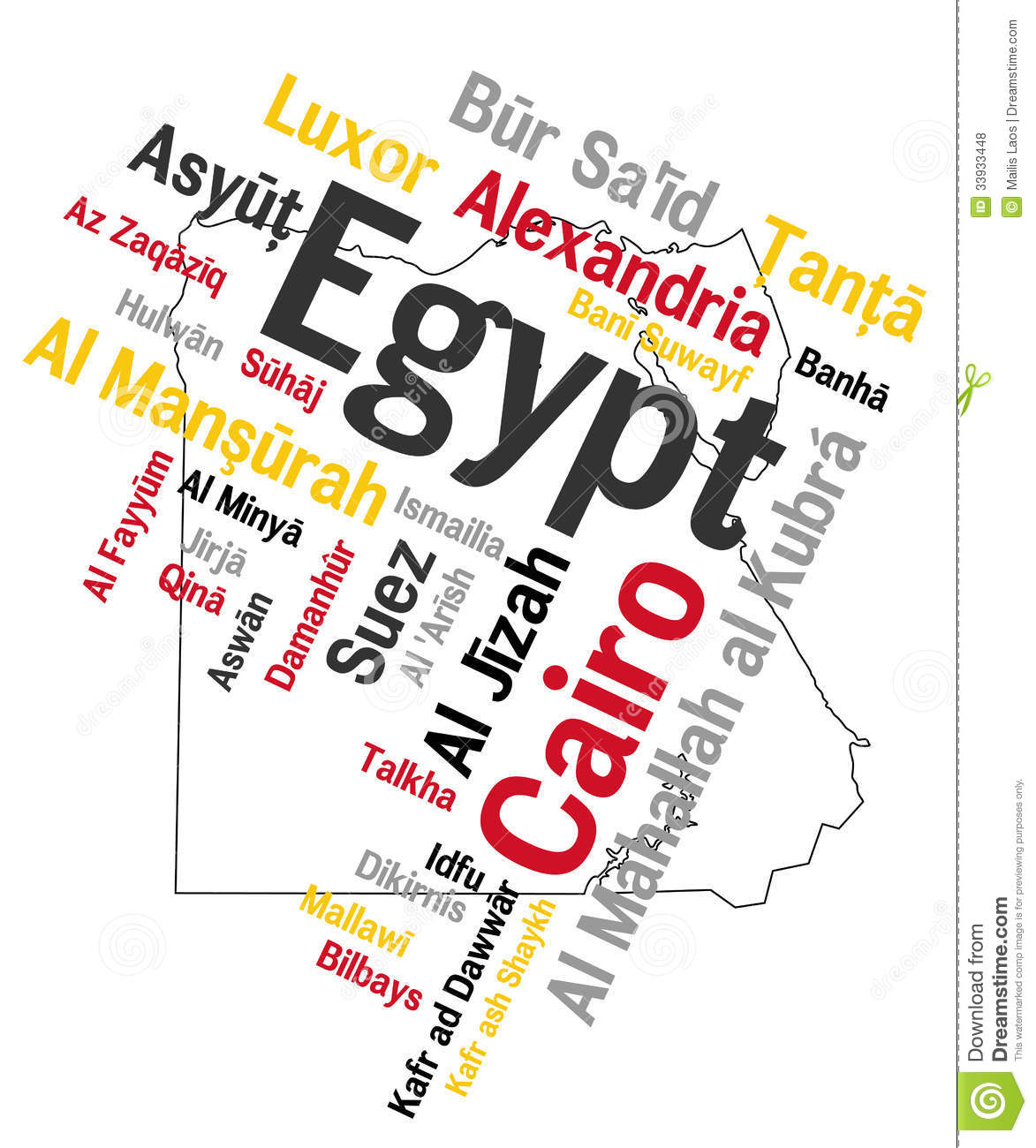 Egypt Map And Cities Stock Vector Image Of Luxor Tagcloud - Map of egypt's major cities